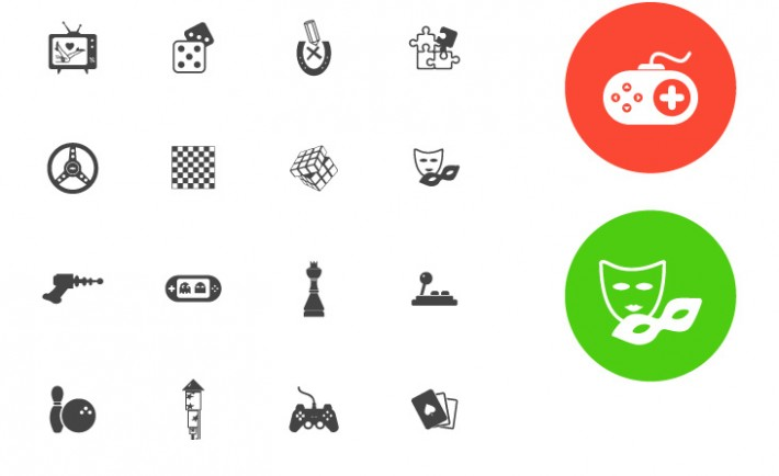 Freebie: 36 Flat Simple Entertainment Icons